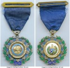 Republic Order of Carlos Manuel de Cespedes Fourth Class Officer Badge ND (Instituted 1926) AU, Barac-61, R&S-Cu61a. 44mm. 44.44gm. With ring, ribbon,...
