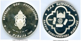 "Republic silver Proof ""Sancti Christophori de Habana"" Medal 1990, 60mm. 93.14gm. A scarce Catholic silver medal naming John Paul II and the Metropolit..."