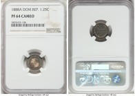 Republic Proof 1-1/4 Centavos 1888-A PR64 Cameo NGC, Paris mint, KM6. Watery and decidedly near gem quality, with a pleasing blue iridescence decorati...
