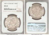 Republic Peso 1897-A MS64 NGC, Philadelphia mint, KM16. Only a one-year type struck from dies prepared in Paris, and an incredible survivor at that, f...