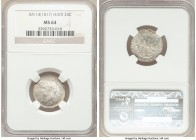 Republic 25 Centimes L'An 14 (1817) MS64 NGC, KM15.1. A superb original example with full mint luster.   HID09801242017  © 2020 Heritage Auctions | Al...