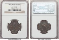 Republic 2 Centimes L'An 27 (1830) AU50 Brown NGC, KM-A22.  HID09801242017  © 2020 Heritage Auctions | All Rights Reserved