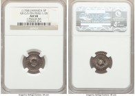 British Colony Counterstamped 5 Pence ND (1758) AU58 NGC, KM1.3, Prid-8 (this coin). Displaying GR counterstamp on the obverse and reverse of a Ferdin...
