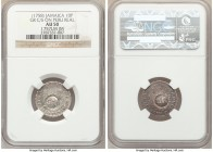 British Colony Counterstamped 10 Pence ND (1758) AU50 NGC, KM3, Prid-7. Displaying GR counterstamp on a Ferdinand VI Real 1757-LM from Peru (cf. KM52)...