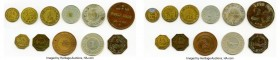 11-Piece Lot of Uncertified Hacienda Tokens, 1) Ponce. Finca Anon 25 Centavos(?) Token ND - XF (Residue, Scratches). Rulau-Unl. 33mm. 8.82gm. 2) Aloma...