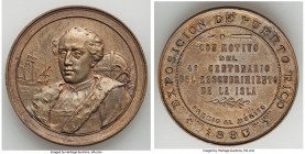 "Spanish Colony. temp. Alfonso XIII copper ""Exposition for the 400th Anniversary of the Discovery of the Island"" Prize Medal 1893 AU (Environmental Dam..."