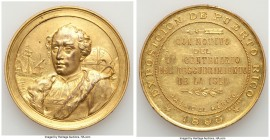 "Spanish Colony. temp. Alfonso XIII gilt-copper ""Exposition for the 400th Anniversary of the Discovery of the Island"" Prize Medal 1893 AU, 51mm. 55.19g..."