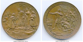 """Discovery of the New World"" bronze Medal 1892 AU (light verdigris, edge knock), 70mm. 180.15gm. An imagery-rich and heavy medal celebrating the disco..."
