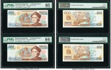 Dominican Republic Banco Central 500 Pesos Oro 1992 Pick 140a Two Commemorative Examples. PMG Choice Uncirculated 64 EPQ; Gem Uncirculated 65 EPQ.  HI...