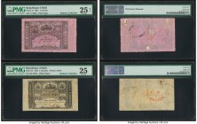 Haiti Republique d'Haiti 1; 2 Gourdes 16.4.1827 Pick 41; 42 Two Examples. PMG Very Fine 25 Net with previous mounting; Very Fine 25.  HID09801242017  ...