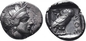 ATTICA.Athens.Circa 454-404 BC.AR Tetradrachm  Obverse : Helmeted head of Athena right Reverse : AΘE; owl standing right, head facing; olive sprig and...