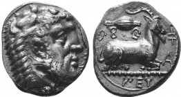 CYPRUS. Salamis. Evagoras I, circa 411-374 BC. Stater. [ E u fa go ro ], (in Cypriot syllabic script) Head of bearded Herakles to right, wearing lion'...