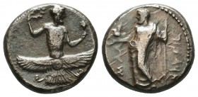CILICIA. Issos. Tiribazos, satrap of Lydia, 388-380 BC. Stater (Silver, 20 mm, 10.65 g, 5 h). [IΣΣIK-ON / ('tribzw' in Aramaic) Ba'al standing front, ...