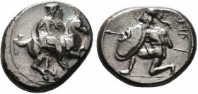 CILICIA, Tarsos. Synnesis III. Circa 425-400 BC. AR Stater (10.29 gm). Satrap on horse galloping right / Hoplite kneeling left, wearing crested Corint...