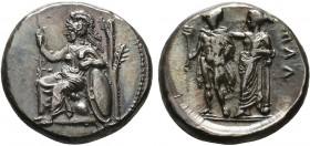 CILICIA. Mallos. Stater (Circa 385-375 BC). Obv: Athena seated left, holding spear and resting elbow upon shield at side; olive tree to right. Rev: ΜΑ...