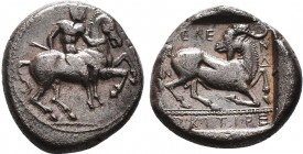 Cilicia, Kelenderis AR Stater. Circa 450-400 BC. Nude youth, holding whip, dismounting from horse rearing right / Goat kneeling right, head left, KELE...