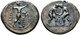 Pisidia, Selge. Ca. 325-250 B.C. AR stater. Two wrestlers grappling / Slinger standing right; triskeles and club in right field.  Condition: Very Fine...