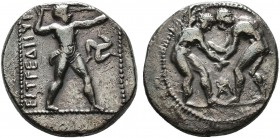 PAMPHYLIA. Aspendos. Stater (Circa 380/75-330/25 BC). Obv: Two wrestlers grappling; sideways anchor (?) between them. Rev: EΣTFEΔIIYΣ. Slinger in thro...