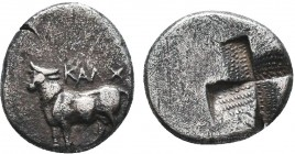 BITHYNIA. Calchedon. Ca. 367/6-340 BC. AR hemidrachm. XF. Persic standard. KAΛX, bull standing left on grain ear / Quadripartite incuse square with st...