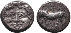 Mysia. Parion circa 400-300 BC. Hemidrachm AR ΠΑ ΡΙ, Bull standing left, head turned back to right; below, star / Gorgoneion facing, surrounded by ser...