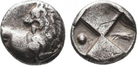 THRACE, Chersonesos. Circa 386-338 BC. AR Hemidrachm. Forepart of lion right, head reverted / Quadripartite incuse square with alternating raised and ...