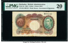 Barbados Government of Barbados 1 Dollar 3.1.1938 Pick 2a PMG Very Fine 20.   HID09801242017  © 2020 Heritage Auctions | All Rights Reserved