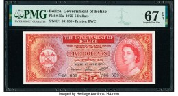Belize Government of Belize 5 Dollars 1.6.1975 Pick 35a PMG Superb Gem Unc 67 EPQ.   HID09801242017  © 2020 Heritage Auctions | All Rights Reserved