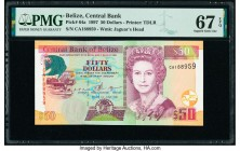 Belize Central Bank 50 Dollars 1.6.1997 Pick 64a PMG Superb Gem Unc 67 EPQ.   HID09801242017  © 2020 Heritage Auctions | All Rights Reserved