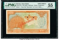 Burma State Bank 100 Kyats ND (1944) Pick 21s1 Specimen PMG About Uncirculated 55. Two POCS; red Specimen overprints.  HID09801242017  © 2020 Heritage...