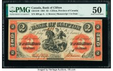 Canada Clifton, PC- Bank of Clifton $2 1.9.1861 Ch.# 125-12-10 PMG About Uncirculated 50. Minor foreign substance.  HID09801242017  © 2020 Heritage Au...