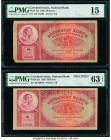 Czechoslovakia Czechoslovak National Bank 50 Korun 1929 Pick 22a; 22s Issued and Specimen Examples PMG Choice Fine 15; Choice Uncirculated 63 EPQ. Tap...