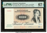 Denmark National Bank 1000 Kroner 1992 Pick 53g PMG Superb Gem Unc 67 EPQ.   HID09801242017  © 2020 Heritage Auctions | All Rights Reserved