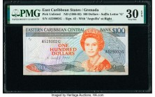 East Caribbean States Central Bank, Grenada 100 Dollars ND (1988-93) Pick UNL (25g w/Signature #2) PMG Very Fine 30 EPQ. Rare signature variety for th...