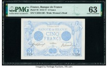 France Banque de France 5 Francs 1912-17 Pick 70 PMG Choice Uncirculated 63. Staple holes.  HID09801242017  © 2020 Heritage Auctions | All Rights Rese...