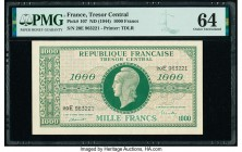 France Tresor Central 1000 Francs ND (1944) Pick 107 PMG Choice Uncirculated 64. Pinholes.  HID09801242017  © 2020 Heritage Auctions | All Rights Rese...