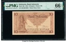 Indonesia Bank Indonesia 10 Rupiah 1952 Pick 43b PMG Gem Uncirculated 66 EPQ.   HID09801242017  © 2020 Heritage Auctions | All Rights Reserved