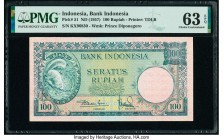 Indonesia Bank Indonesia 100 Rupiah ND (1957) Pick 51 PMG Choice Uncirculated 63 EPQ.   HID09801242017  © 2020 Heritage Auctions | All Rights Reserved...