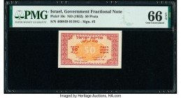 Israel Israel Government 50 Pruta ND (1952) Pick 10c PMG Gem Uncirculated 66 EPQ.   HID09801242017  © 2020 Heritage Auctions | All Rights Reserved