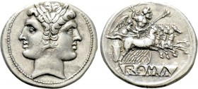 ANONYMOUS. Didrachm or Quadrigatus (Circa 225-214 BC). Rome.