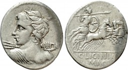 C. LICINIUS L.F. MACER. Denarius (84 BC). Rome. 