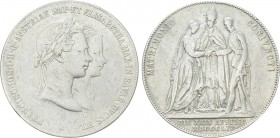 AUSTRIAN EMPIRE. Franz Joseph I (1848-1916). 1 Gulden (1854-A). Wien (Vienna). Commemorating his marriage to Elisabeth von Bayern. 