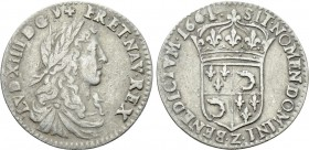 FRANCE. Louis XIV (1643-1715). 1/12 Écu (1661-Z). Grenoble. 