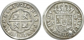 SPAIN. Philip V (First reign, 1700-1724). 2 Reales (1721 S-J). Sevilla. 