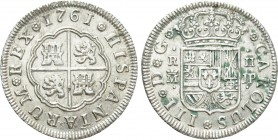 SPAIN. Carlos III (1759-1788). 2 Reales (1761-JP). Madrid. 
