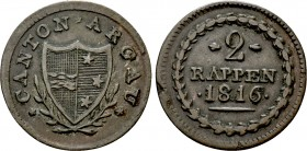 SWITZERLAND. Kantone. Aarau. 2 Rappen (1816). 