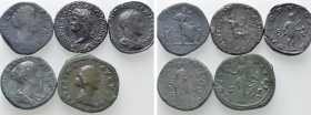 4 Roman Sestertii and 1 As; Gordianus, Nero etc. . 