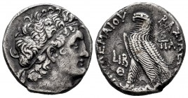 Ptolemaic Kings of Egypt. Cleopatra III and Ptolemy X Alexander I. Tetradrachm. Year 12 of Cleopatra and 9 of Ptolemy. 106/5 AD. Alexandria. (Sng Cop-...