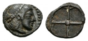 Sicily. Syracuse. Obol. 478–475 BC. (HGC 2, 1371). Anv.: Head of Arethousa right, wearing pearl tainia. Rev.: Wheel with four spokes. 0,58 g. Choice V...