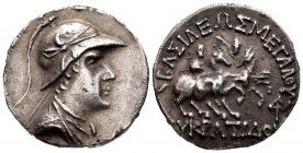 Kings of Bactria. Eukratides I Megas. Tetradrachm. 170-145 a.C. (Sng Ans-465). (Bopearachchi-6E). Anv.: Right-hand bust with headband, draping and hel...