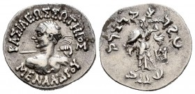 Kings of Bactria. Menander I Soter. Drachm. 155-130 a.C. (Sng Ans-739-44). (Bopearachchi-7E). Anv.: BAΣIΛEΩΣ ΣΩTHPOΣ - MENANΔPOY. Heroic diademed bust...
